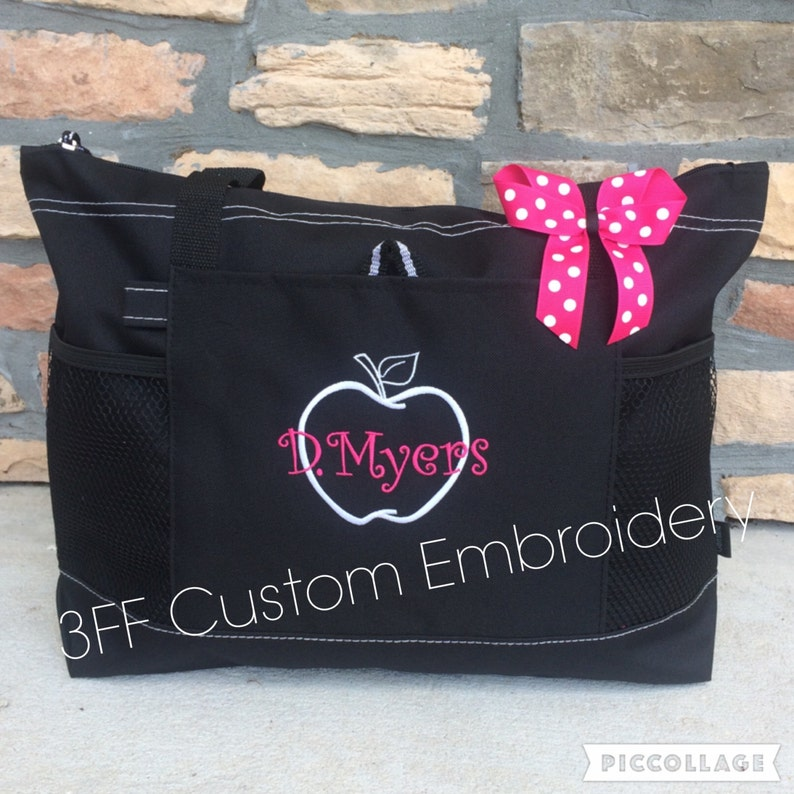 Personalized or Monorammed Teacher Tote Lots of Colors to image 0
