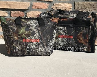 SALE Personalized Mossy Oak or Realtree Camo Duffel/Camping/Hunting/Fishing-Travel Bag SET-Great Gift For Him