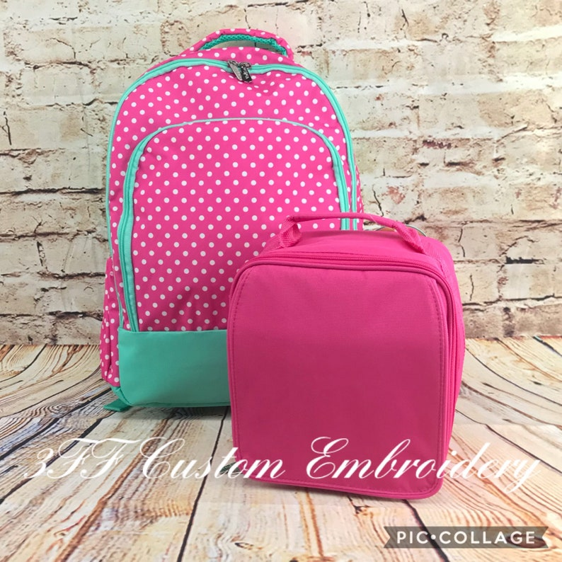 Pink Polka Dot and Mint Backpack and Solid Pink Lunchbox SET  84fb3c265608e