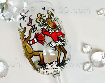 BLITZEN for a VIXEN | Rudolf the Red Nose Reindeer Wine Glass | Handmade Holiday Gifts | Party Accessory | Home Decor | Drink and Be Merry