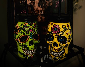 Sugar Skull Mason Jars | Day of the Dead | Hand-Painted with LOVE | Custom Made to Order | Halloween Decor