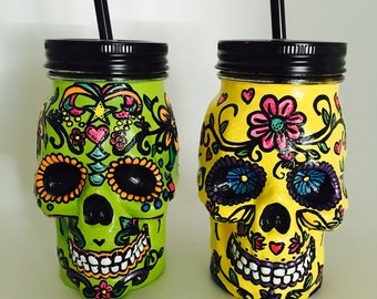 PAIR of Sugar Skull Mason Jars | Day of the Dead | Hand-Painted with LOVE | Custom Made to Order | Halloween Decor