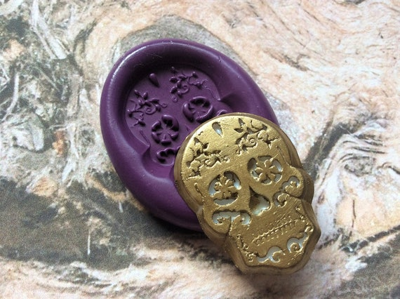 Sugar Skull flexible silicone mold/ fondant/ cake decoration