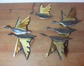 Vintage Metal Flying Geese 3D Wall Art, Home Decor, 3 Plaques, See Description