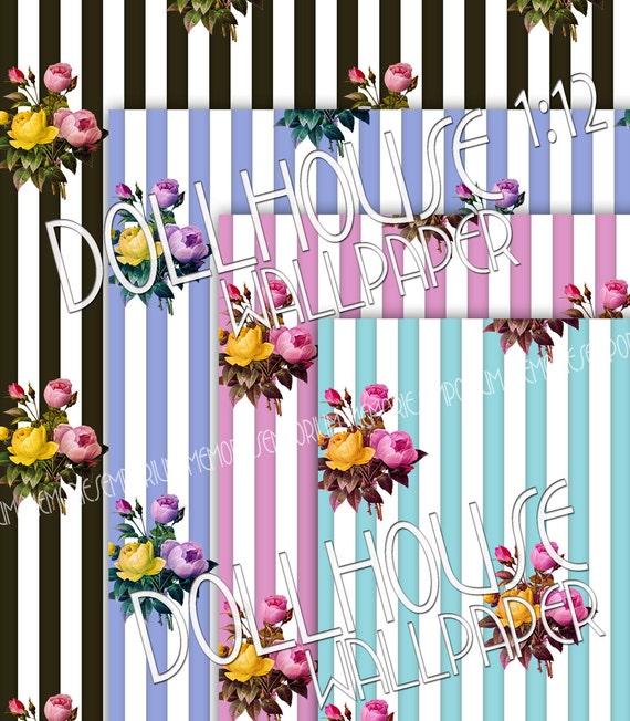 Dollhouse Wallpaper Stripes Flowers Floral Decor 1/12