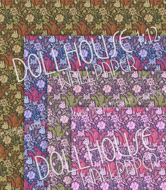 Dollhouse Wallpaper Printable Art Nouveau Floral Drawing