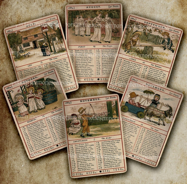 Calendario Almanacco.Stampe Antiche Calendario Almanacco Bambini Vittoriana Inglese Carte Collage Digitale Foglio Download 1884 Decoupage Vecchio Shabby Chic Download