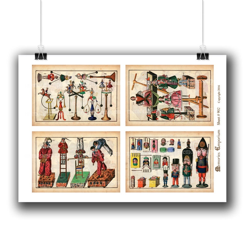 Antique Toy Catalog Pages Instant Printable Download Clockwork Automatons Windup Clowns Victorian Collectors Old Paper Ephemera 902
