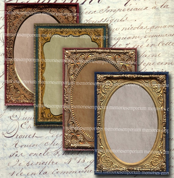 Antique Photo Frames Atc Aceo 25 X 35 Inch Decoupage Etsy
