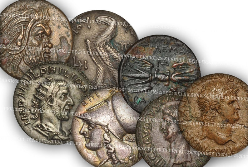 Digital Paper Coins Old Greek Roman Coins From Antiquity 14 mm Circles  Rounds for DIY Jewelry Pendants Earrings Cufflinks Collage Sheet 716