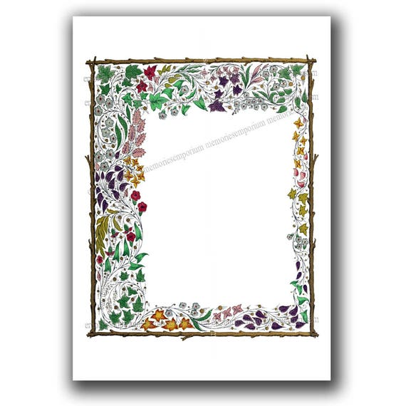 flower illumination border page stationery digital download etsy