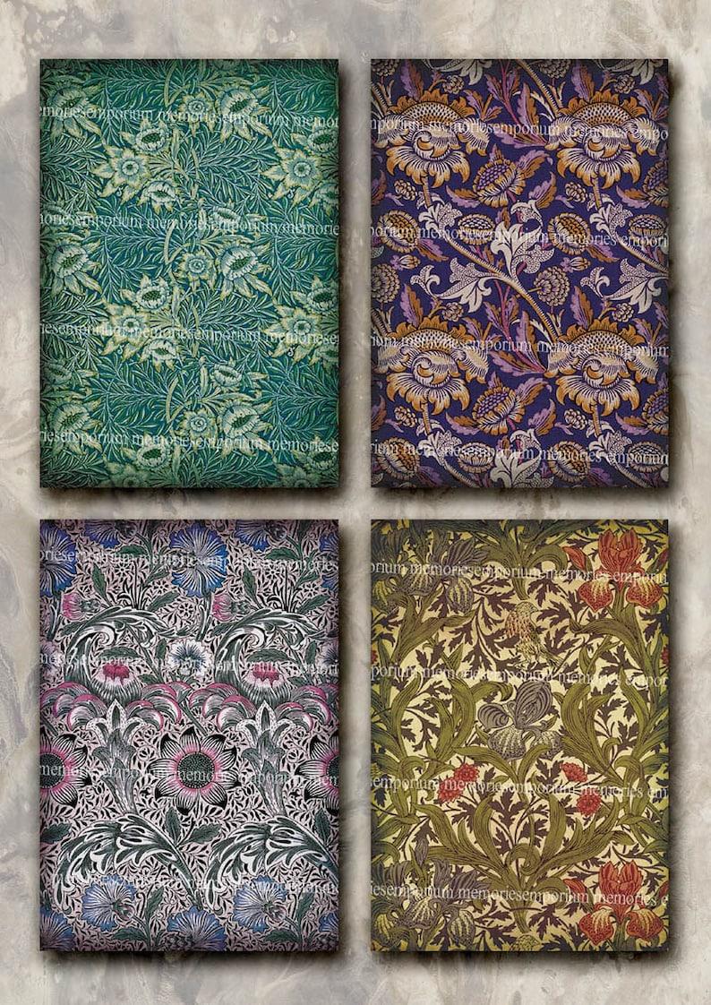 Art Nouveau Floral Patterns Fabric Postcard Size Antique Etsy