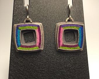 Square Donut Earrings Cool (Gem) Palette