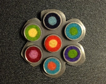 Flower Pin/Pendant With Dots- Multicolor