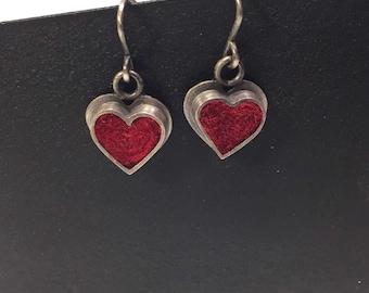 Heart Earrings- Cranberry