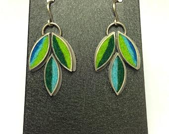 Lotus Flower Earrings- Blue/Green Palette