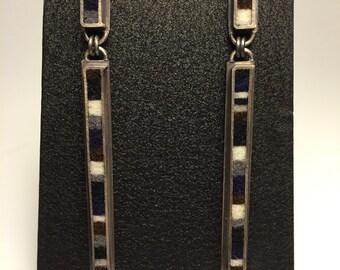 2-Part Skinny Rectangle Earrings- Black & White Palette