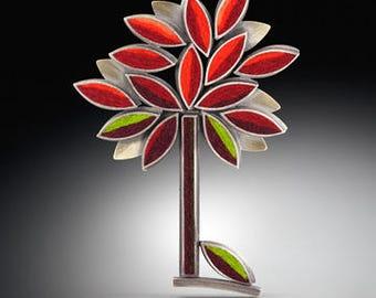 Autumn Perfect Tree Brooch- Hot/Earth Tone Combination