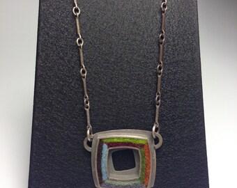 "Small Square Donut Necklace 17""- Earth Tone Palette"