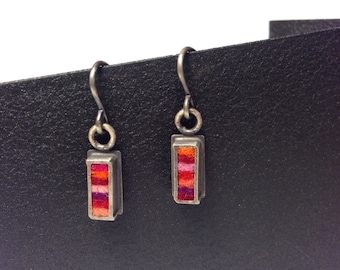 Skinny Rectangle Earrings Extra Small- Hot Palette
