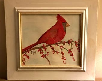 Winter Cardinal 10x11 Framed Watercolor