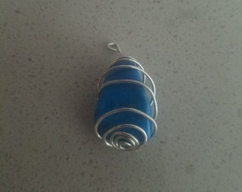 Spiral wrapped Blue stone