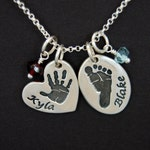 Double Custom Footprint or Handprint Necklace Petite - Two Charms - Made From Your Print