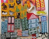 Vintage chinese oriental wooden play blocks toys assemblage artist supplies