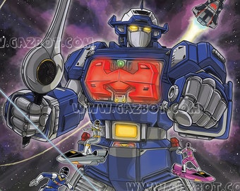 Power Rangers In Space : Astro Megazord and Rangers