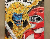 Power Rangers #1 color sketch cover by Gazbot