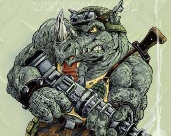 Rocksteady the Rhino henchman from Teenage Mutant Ninja Turtles