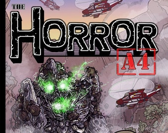 """Issue #1 of """"The Horror A4"""" my Independent Kaiju (giant monster) comic."""