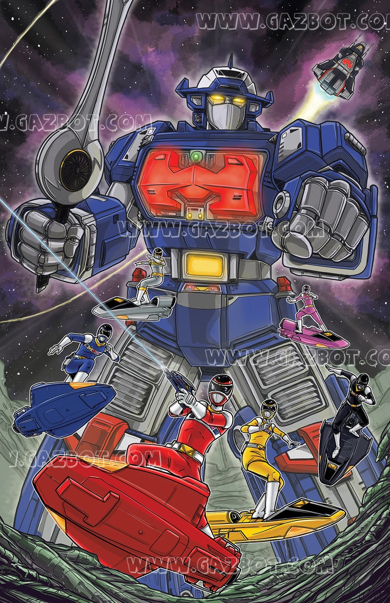 Power Rangers In Space : Astro Megazord and Rangers image 0