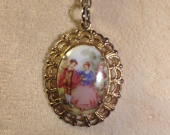 Vintage Pendant Necklace With Classic Scene Of Young Lovers