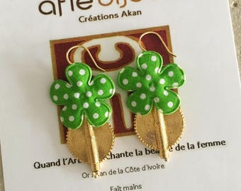 Flowers polka dot - green earrings