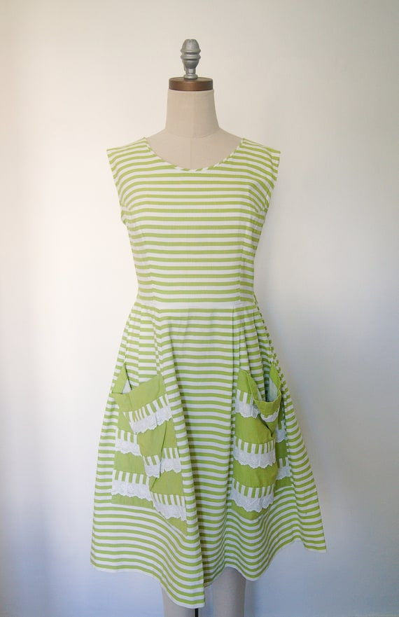 Mid-Century Green Striped Day Dress