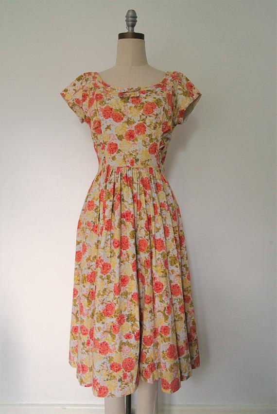 1950s Jerry Gilden Spectator Floral Dress