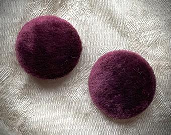 Pair of plum silk velvet buttons