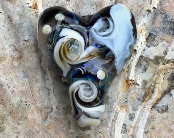 Grey and ivory swirly lampwork heart focal bead with dichroic dot.