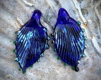Cobalt blue pendant lampwork leaf pair