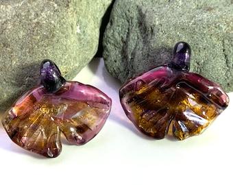 Purple and dark gold lampwork pendant gingko leaf pair