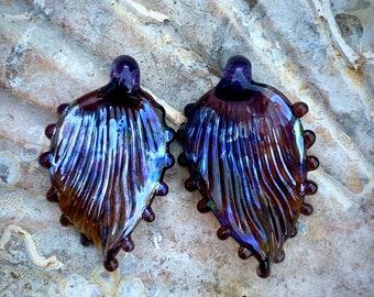 Purple/amber pendant lampwork leaf pair
