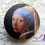 Fabric button, Vermeer bead girl, 22, 24, 32, 40 mm/0.86, 0.94, 1.25, 1.57 in