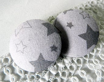 Fabric button grey with stars, 32 mm / 1.25 in