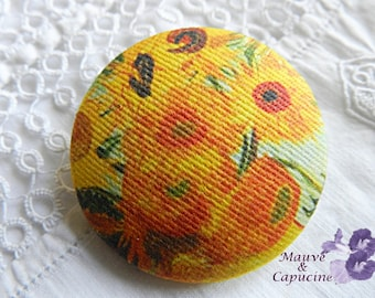 Button out of fabric, Van Gogh sunflowers, 0.78 in / 20 mm