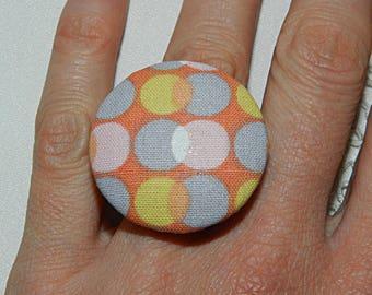 Orange and pink polka dot Adjustable ring
