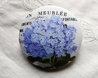 Button fabric, blue hydrangea, 0.86 in / 22 mm