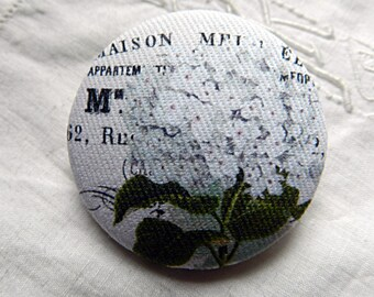 Fabric button drawing of  hydrangea, 0.86 in / 22 mm
