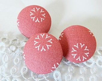 Pink floral fabric button, 24 mm / in 0.94