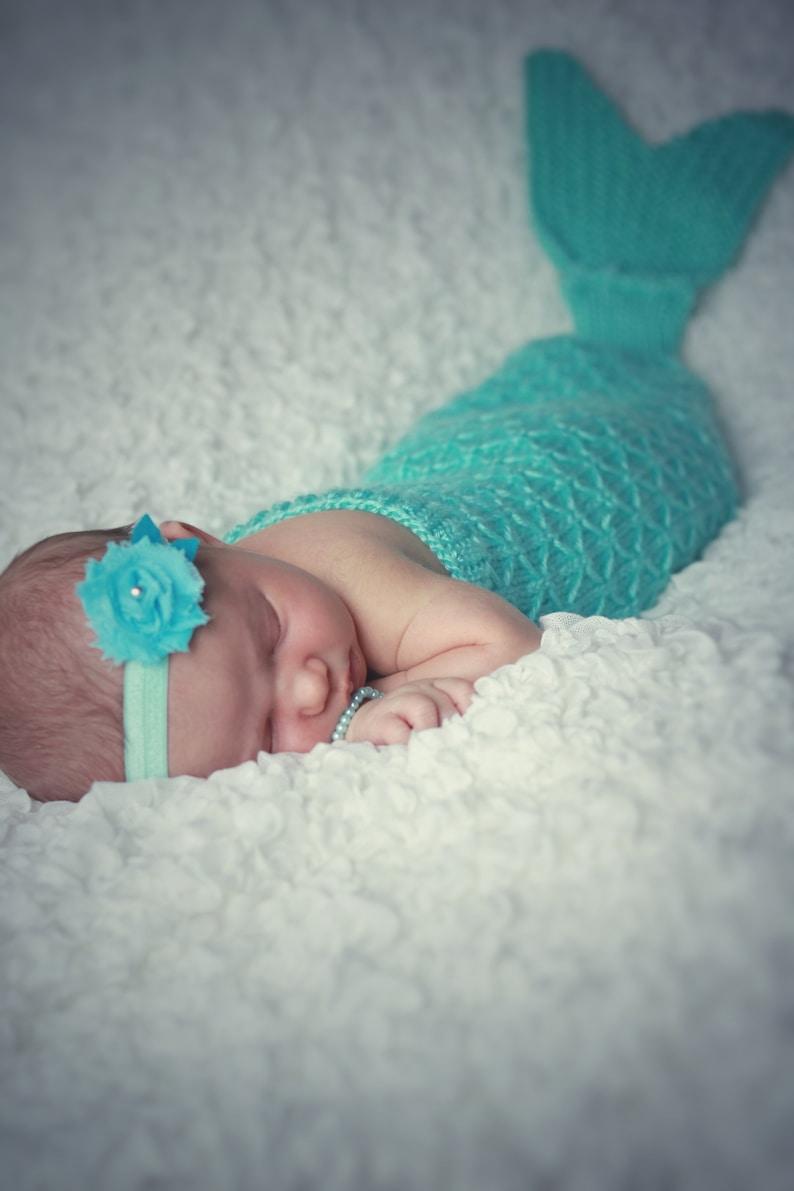 Green Mermaid Cocoon and Headband Baby Newborn Photo Prop Set
